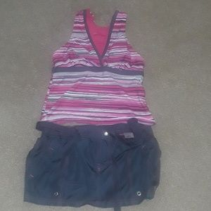 Tankini swimsuit top and skirted bottom